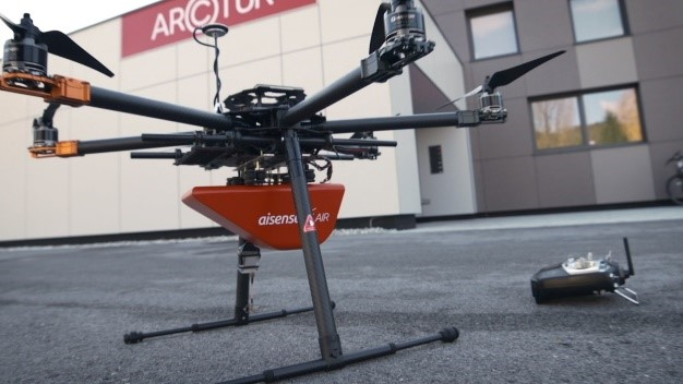 Mount on the rotor drone for a detailed inspection of a building or an area